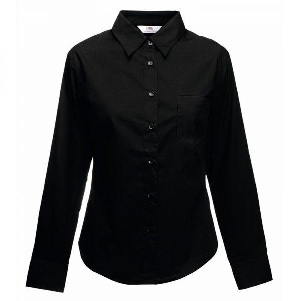 120g 55/45 CP Ladies Poplin Shirt Long Sleeve - SSHLPL-black