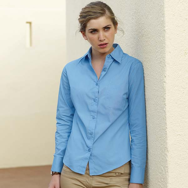 120g 55/45 CP Ladies Poplin Shirt Long Sleeve - SSHLPL-model2