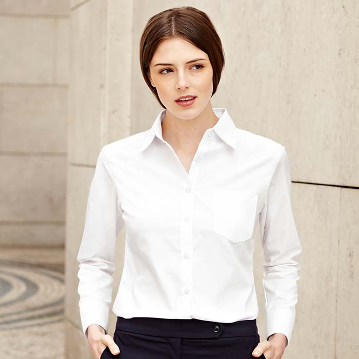 120g 55/45 CP Ladies Poplin Shirt Long Sleeve - SSHLPL-model5
