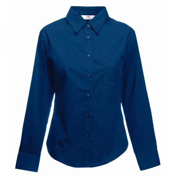 120g 55/45 CP Ladies Poplin Shirt Long Sleeve - SSHLPL-navy