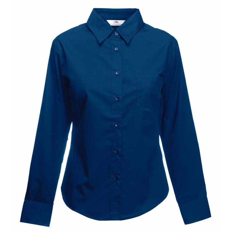 120g 55/45 CP Ladies Poplin Shirt Long Sleeve - SSHLPL-navy