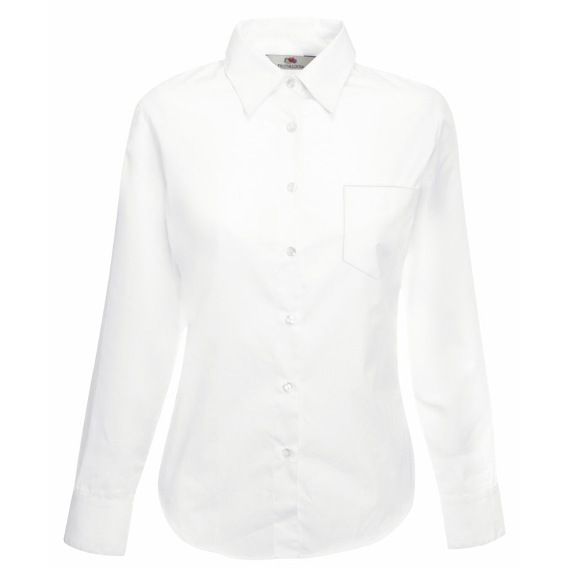 120g 55/45 CP Ladies Poplin Shirt Long Sleeve - SSHLPL-white