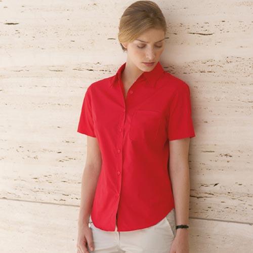 120g 55/45 CP Ladies Poplin Shirt Short Sleeve - SSHSPL-red
