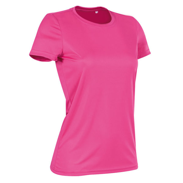 140gsm 100% ACTIVE-DRY polyester Ladies ACTIVE Sports T (Smooth, Body-Fit) Short Sleeve - ST8100-sweet-pink