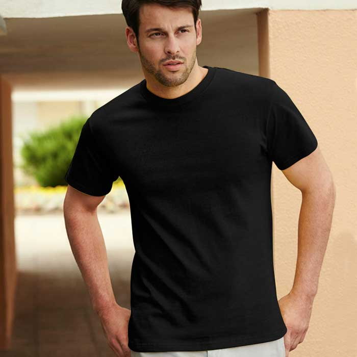 195gsm 100% Cotton, Belcoro® Yarn Heavy T Short Sleeve - STHA-black