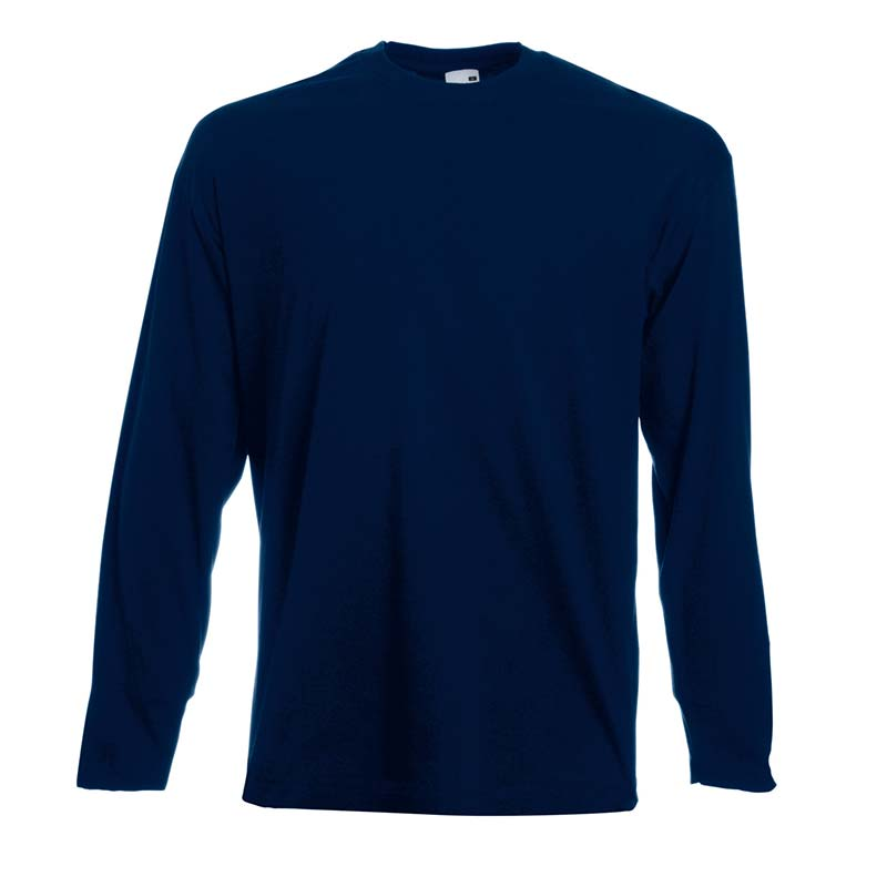165gsm 100% Cotton, Belcoro® Yarn Valueweight Long Sleeve T - STLA-dark-navy