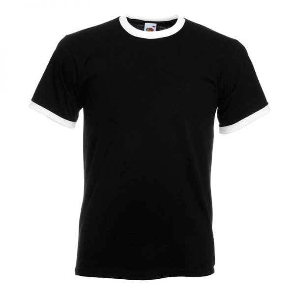 165gsm 100% Cotton, Belcoro® Yarn Ringer T Short Sleeve - STRA-black-white