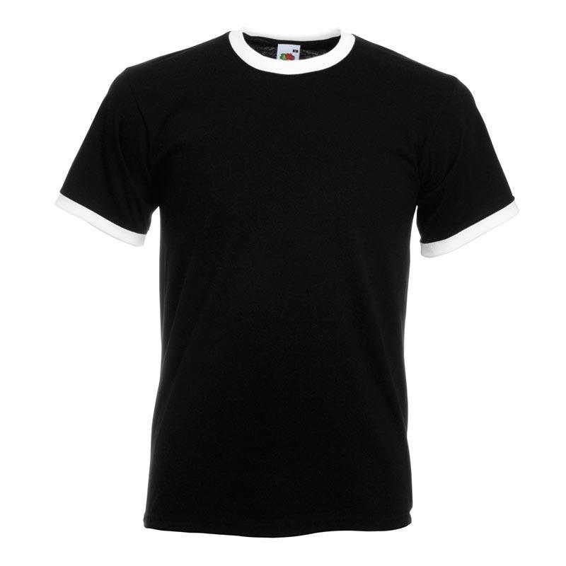 165gsm 100% Cotton, Belcoro® Yarn Ringer T Short Sleeve - STRA-black-white
