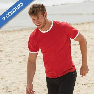 165gsm 100% Cotton, Belcoro Yarn Ringer T Short Sleeve - STRA
