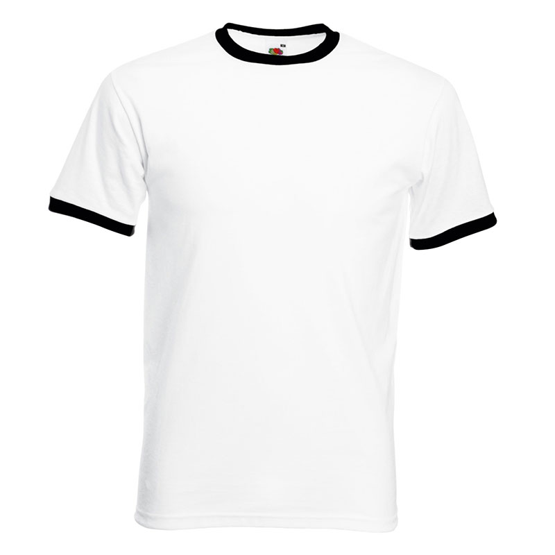 165gsm 100% Cotton, Belcoro® Yarn Ringer T Short Sleeve - STRA-white-black