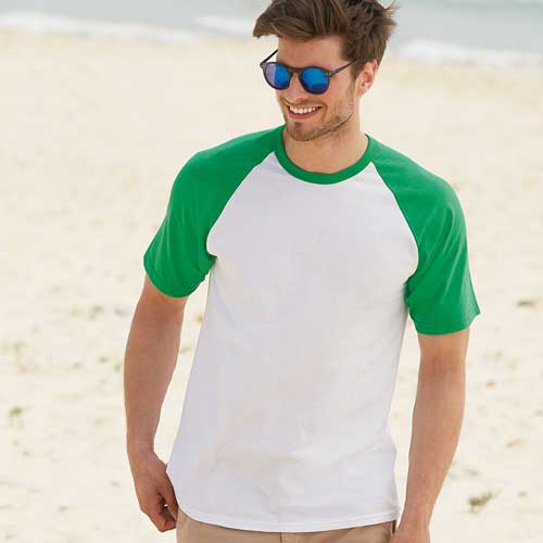 165gsm 100% Cotton Baseball T-Shirt Short Sleeve - STSBA
