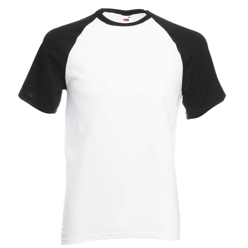 165gsm 100% Cotton Baseball T-Shirt Short Sleeve - STSBA-white-black