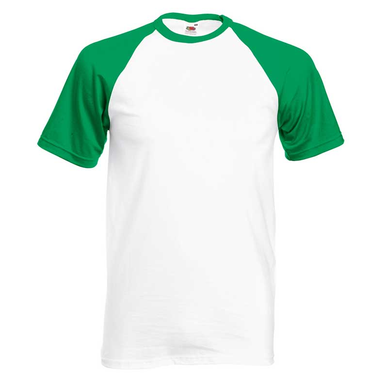165gsm 100% Cotton Baseball T-Shirt Short Sleeve - STSBA-white-kelly