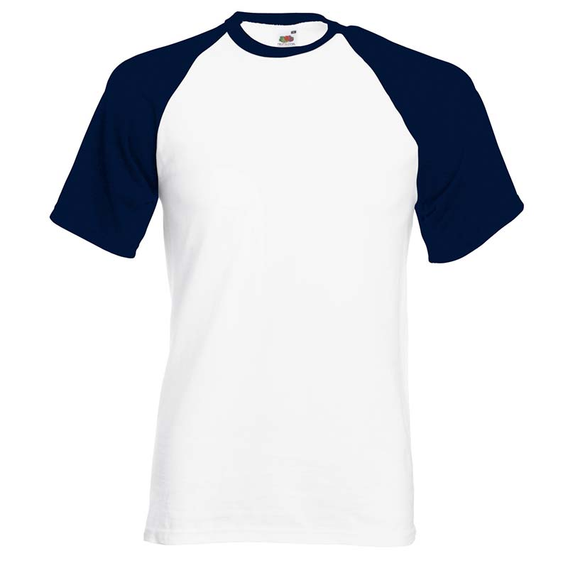 165gsm 100% Cotton Baseball T-Shirt Short Sleeve - STSBA-white-navy