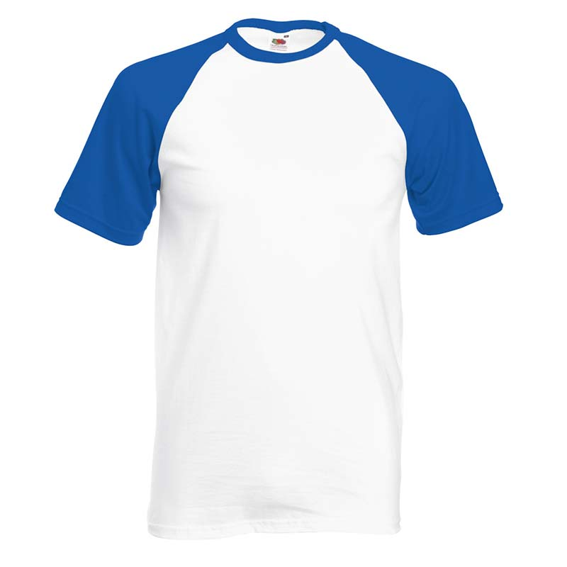 165gsm 100% Cotton Baseball T-Shirt Short Sleeve - STSBA-white-royal