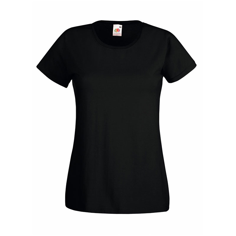 165gsm 100% Cotton, Belcoro® Yarn Lady-Fit Valueweight Crew Neck T Short Sleeve -STVL-black