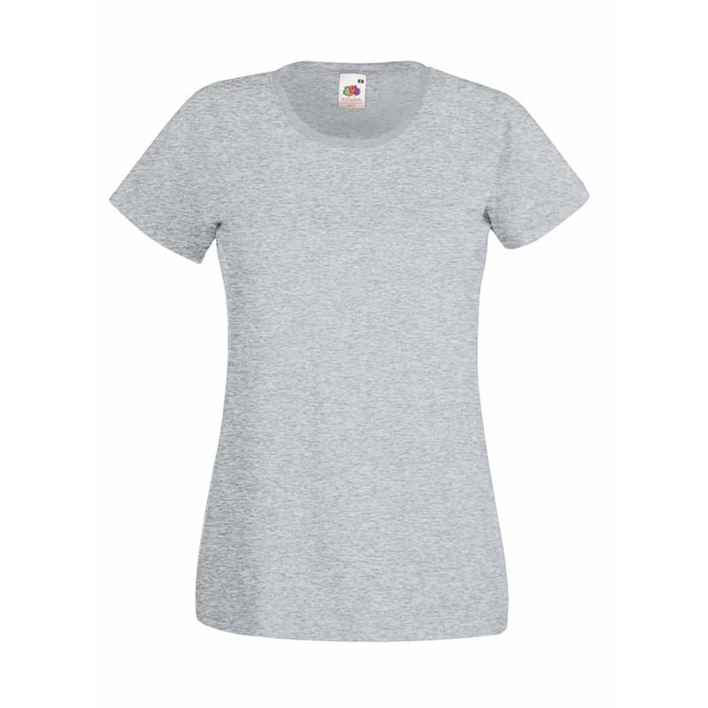 165gsm 100% Cotton, Belcoro® Yarn Lady-Fit Valueweight Crew Neck T Short Sleeve -STVL-heathr-grey