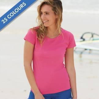 165gsm 100% Cotton, Belcoro® Yarn Lady-Fit Valueweight Crew Neck T Short Sleeve -STVL