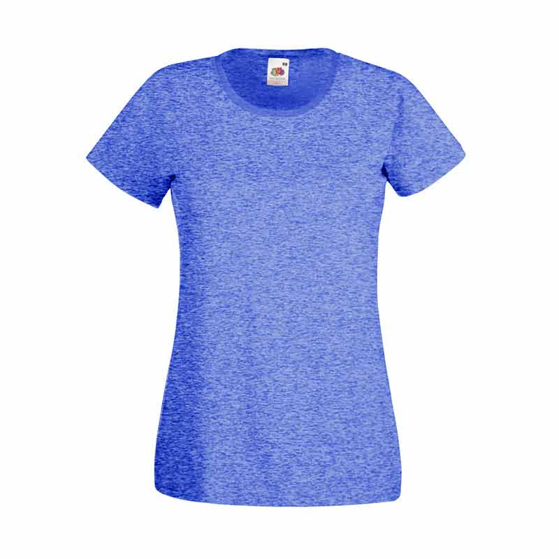 165gsm 100% Cotton, Belcoro® Yarn Lady-Fit Valueweight Crew Neck T Short Sleeve -STVL-retro-heathr-royal