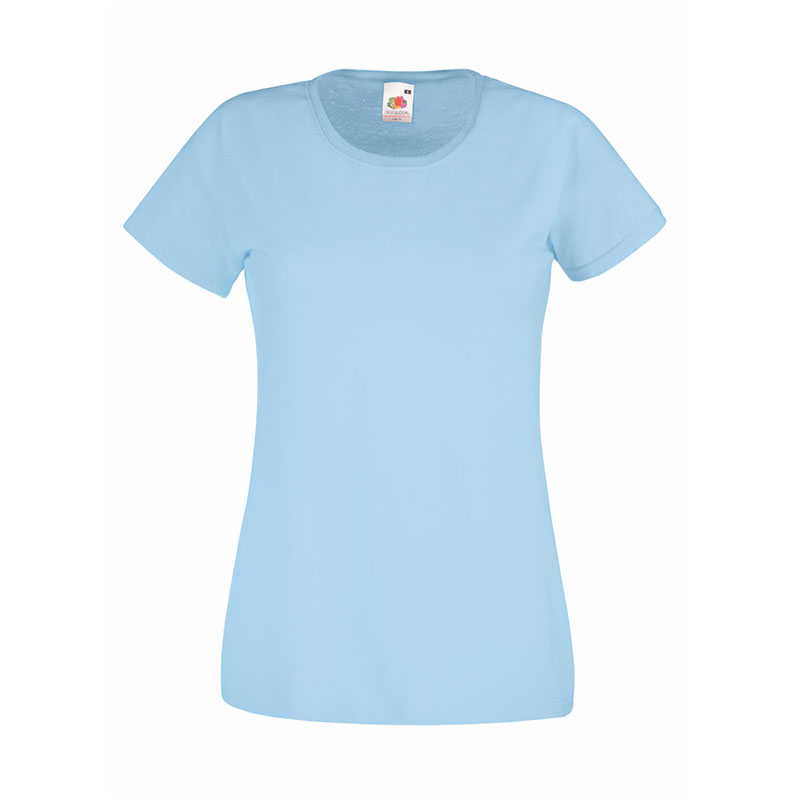 165gsm 100% Cotton, Belcoro® Yarn Lady-Fit Valueweight Crew Neck T Short Sleeve -STVL-sky-blue