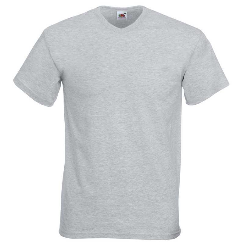 165g 100% Cotton, Belcoro® Valueweight V-neck T Short Sleeve - STVNA-heather-grey