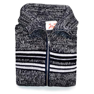 'Tops of Scotland' Jumper Zipper Long Sleeve VJUA17-black