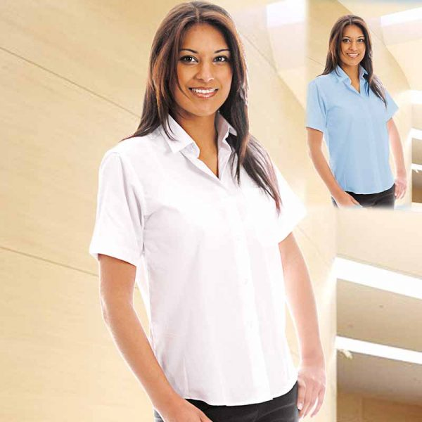 110gsm Ladies Classic Poplin Shirt Short Sleeve - WBLL10