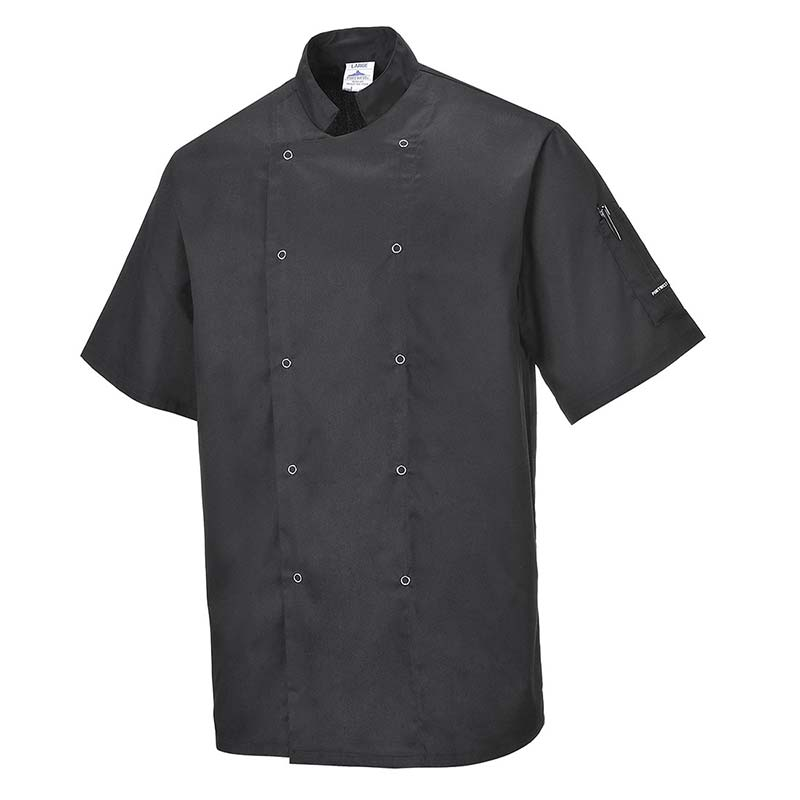 190g 65/35 PC 'Cumbria' Chefs Jacket with Press Studs - Short Sleeve - WCJA733-black