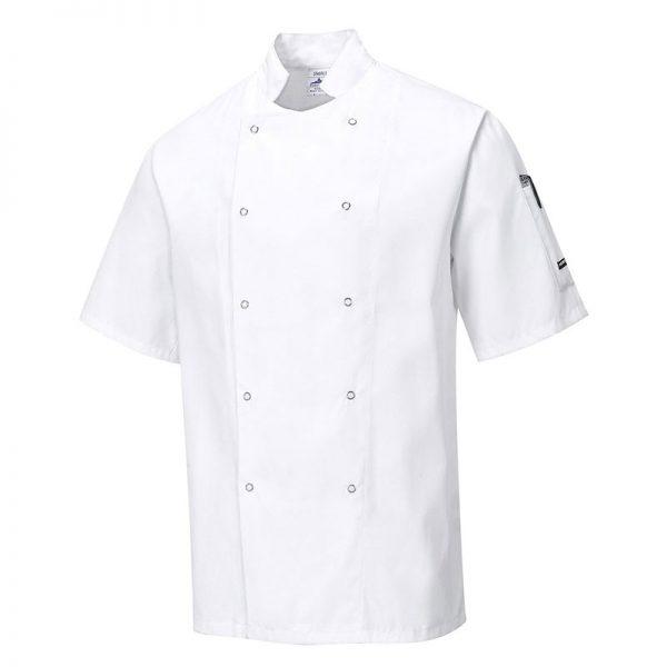 190g 65/35 PC 'Cumbria' Chefs Jacket with Press Studs - Short Sleeve - WCJA733-white