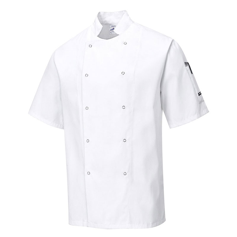 190g 65/35 PC 'Cumbria' Chefs Jacket with Press Studs - Short Sleeve - WCJA733-white
