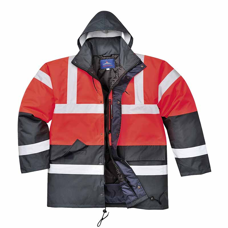 190g Hi-Vis Contrast Traffic Waterproof Jacket WJAA466 - WJAA466-red-black