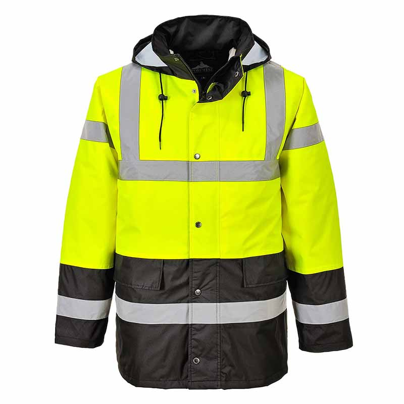 190g Hi-Vis Contrast Traffic Waterproof Jacket WJAA466 - WJAA466-yellow-black