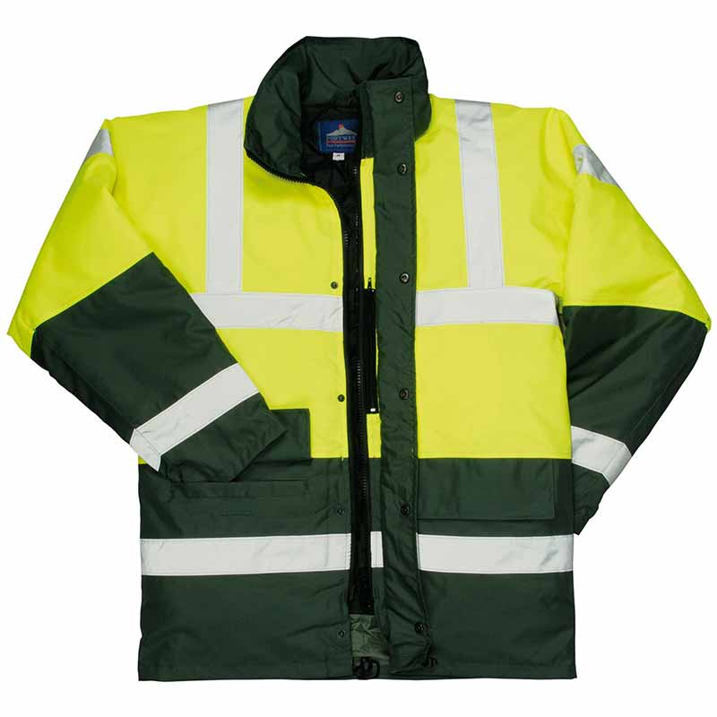 190g Hi-Vis Contrast Traffic Waterproof Jacket WJAA466 - WJAA466-yellow-green