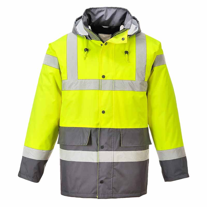 190g Hi-Vis Contrast Traffic Waterproof Jacket WJAA466 - WJAA466-yellow-grey