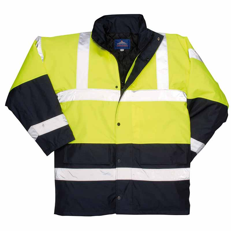 190g Hi-Vis Contrast Traffic Waterproof Jacket WJAA466 - WJAA466-yellow-navy