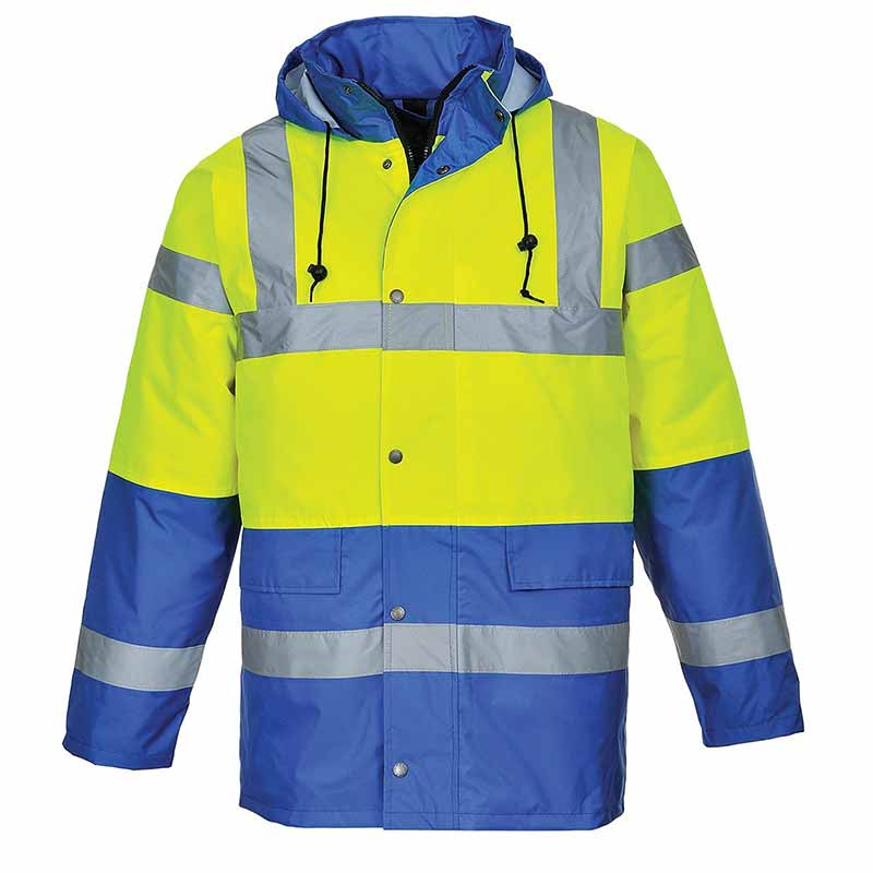 190g Hi-Vis Contrast Traffic Waterproof Jacket WJAA466 - WJAA466-yellow-royal