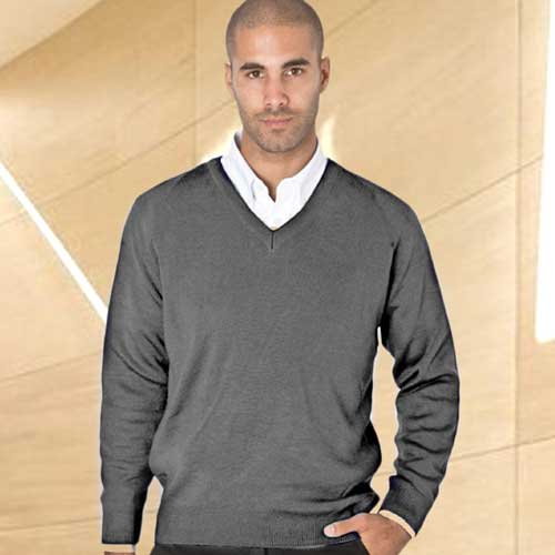 50/50 Cotton-mix V-Neck Fully Fashioned Pullover - WJUA05-grey