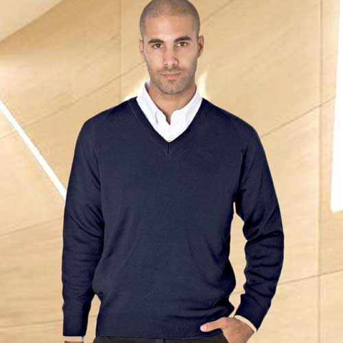 50/50 Cotton-mix V-Neck Fully Fashioned Pullover - WJUA05-navy