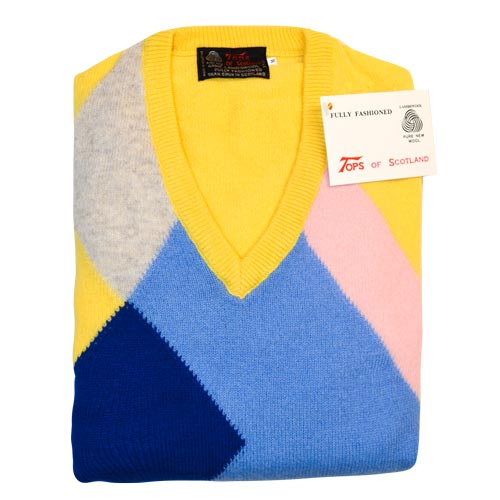 'Tops Of Scotland' Jumper Vneck Long Sleeves-WJUV21-lemon