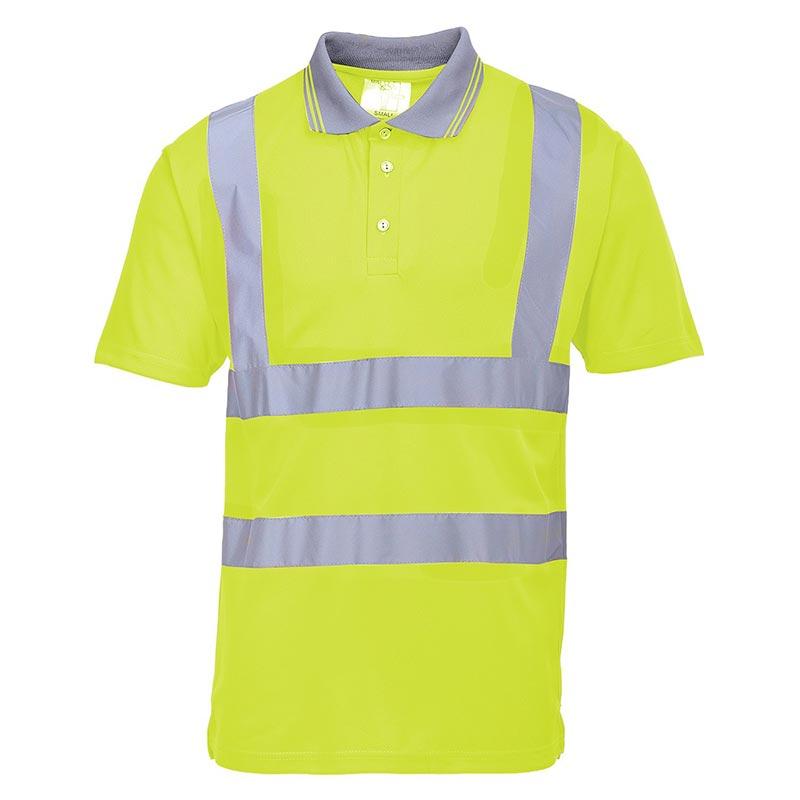 175gsm 100 Polyester Hi-Vis Short Sleeved Polo Shirt - WPOA477-yellow