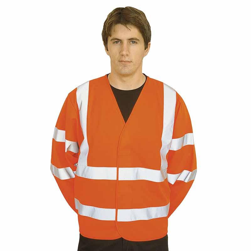 125g 100% Polyester Hi-Vis Long Sleeve Vest - WWCLA473-orange2