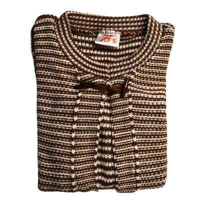 Cardigan Long Sleeves Toggle on Neck VCAA82-brown