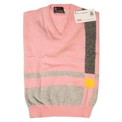 'Tops Of Scotland' Jumper Vneck Strip Long Sleeves VJUA09-pink