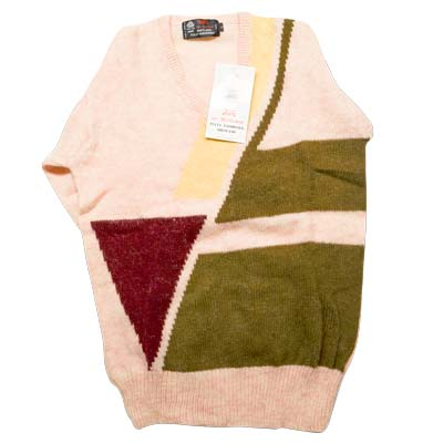 100% Shetland Wool Jumper V-Neck Intarsia Long Sleeve Fully Fashion Pure New Wool - VJUA11-beige