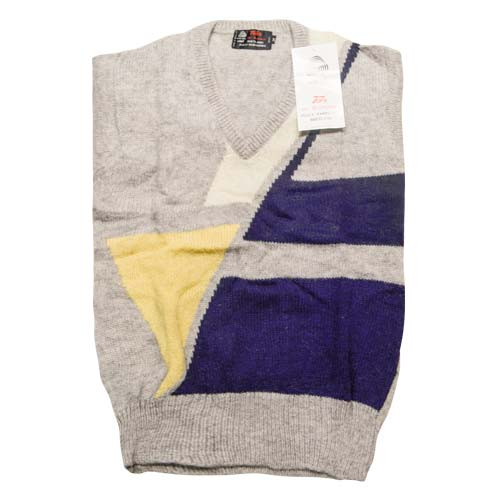 100% Shetland Wool Jumper V-Neck Intarsia Long Sleeve Fully Fashion Pure New Wool - VJUA11-grey