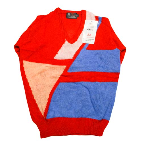 100% Shetland Wool Jumper V-Neck Intarsia Long Sleeve Fully Fashion Pure New Wool - VJUA11-red
