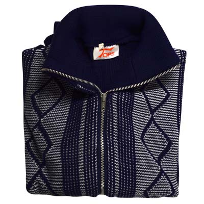 'Tops Of Scotland' Jumper with Front Zip Collar 2-tone - VJUA15-navy