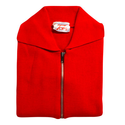Jumper with Front Zip and Collar VJUA16-red