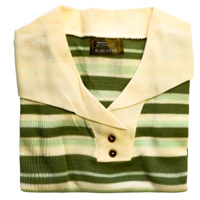 Jumper 2 Button Collar Strip 3/4 Sleeve VJUA90-cream-green