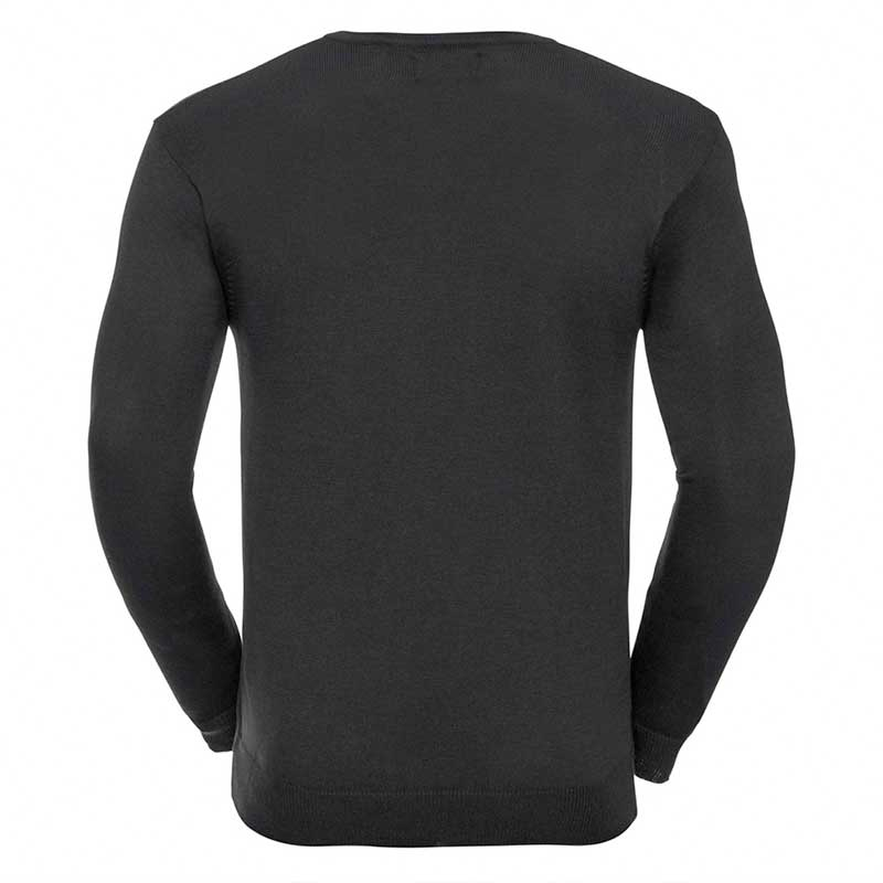 275g 50/50 Cotton-Acrylic V-Neck Knitted Pullover -JJUA710-charcoal-back